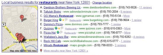 Google Local for Restaurants in 12801