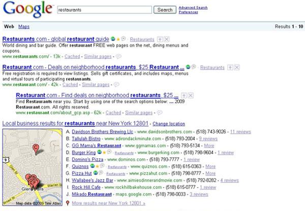 Google Local Restaurants Results 12801