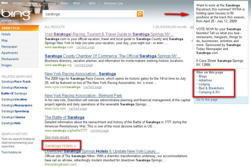 Bing search engine results page