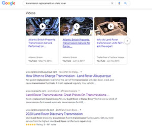 Google video search / VSEO results