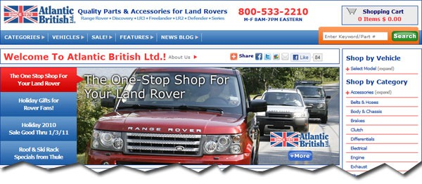 RoverParts.com website home page