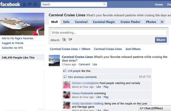 Carnival Cruise Facebook page
