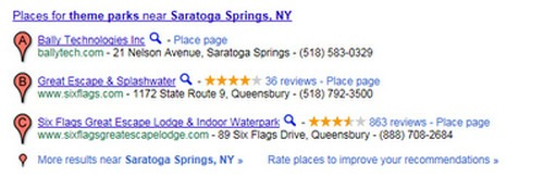 theme parks saratoga springs search results in Google