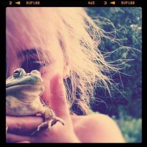 girl holding frog instagram