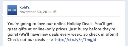 Kohls Holiday Facebook Call-to-Action