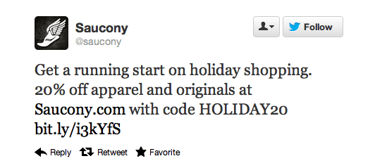 Saucony Holiday Twitter Offer