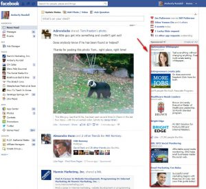 column of Ads in Facebook