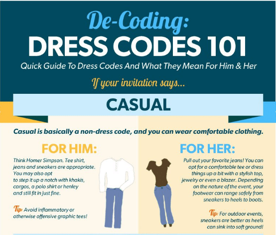 how to dress for your next event, business meeting or after hours party - decoding dress codes