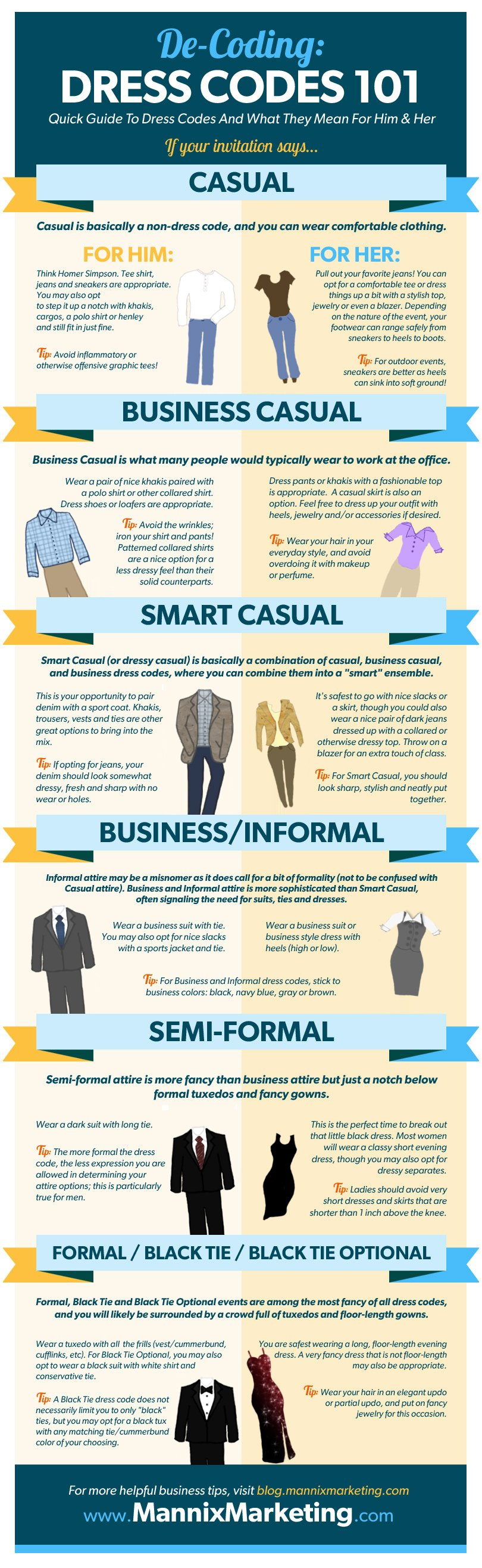 dress codes amp what they mean infographic � his amp her
