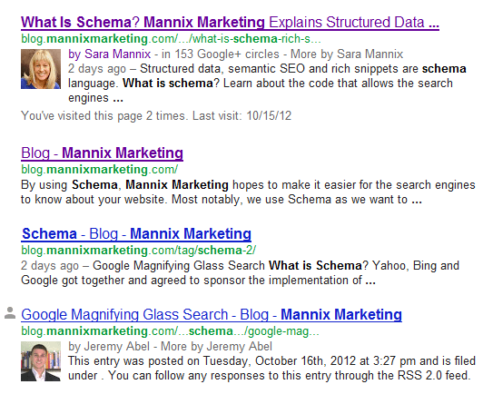Author Rich Snippet as a result of authorship schema in blog