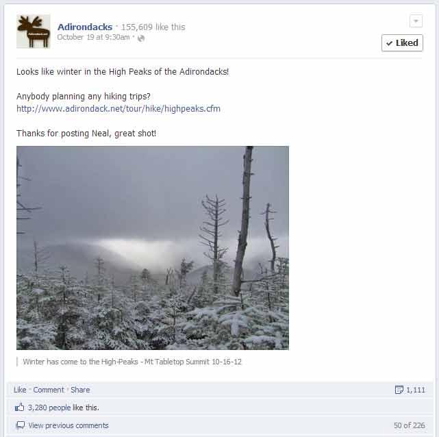 post on Adirondacks Facebook page