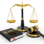 balance of justice photo with law book and gavel