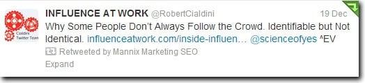 Mannix Marketing Retweets Dr. Cialdini