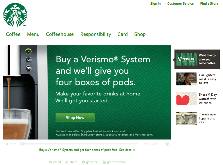 Responsive Web Design Tablet- Starbucks