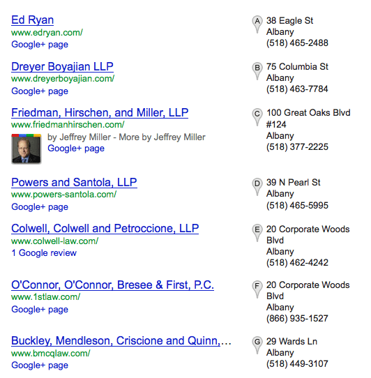 Google+Local Photo Display in Local Search Results