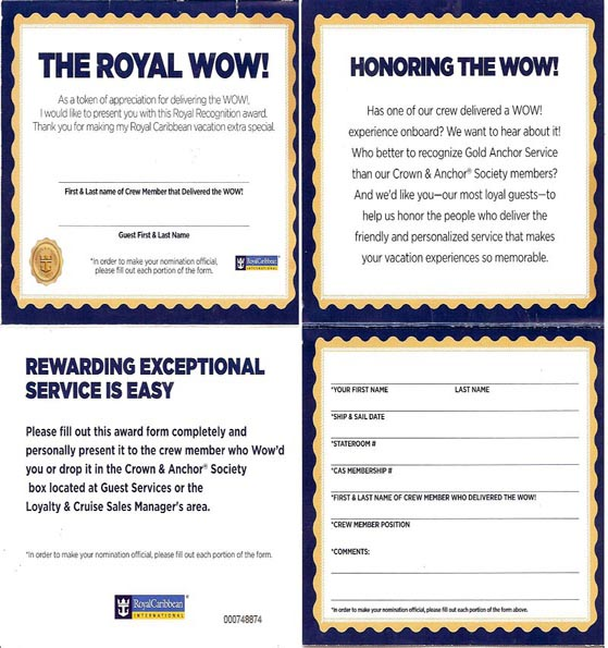 Royal Caribbean gives these cards to Guests