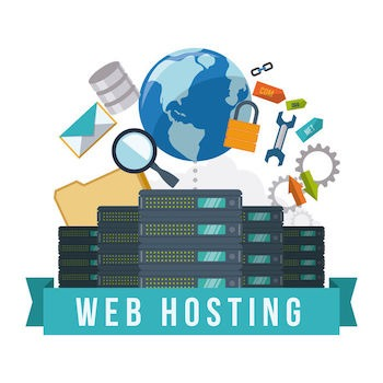 Web hosting digital vector illustration