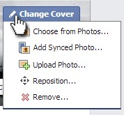 Change Facebook Cover Image button