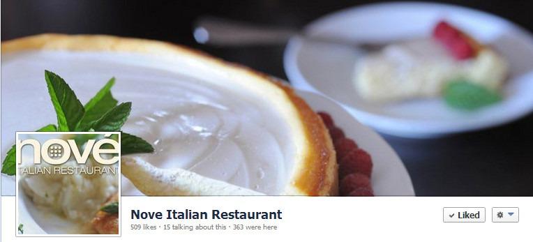 Nove Italian Restaurant Facebook Page