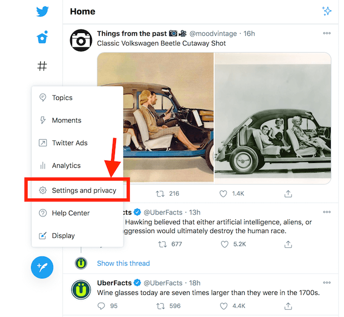 Select Settings and Privacy on Twitter