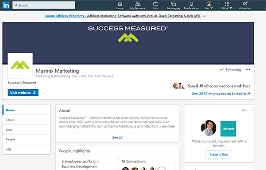 Mannix Marketing LinkedIn company page