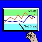 chart with hand in front