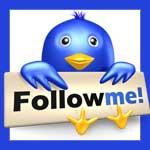 "Twitter bird with a ""Follow me"" sign"