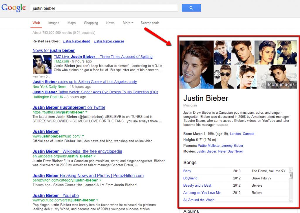 Justin Bieber Google reult