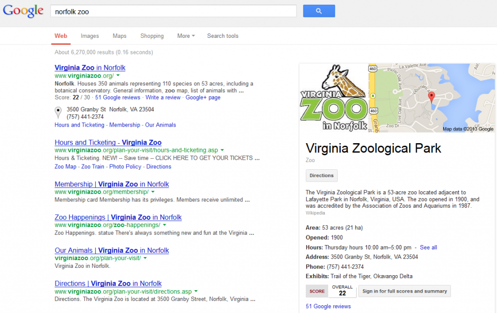 Norfolk Zoo Google Results Page