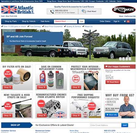 RoverParts.com home page