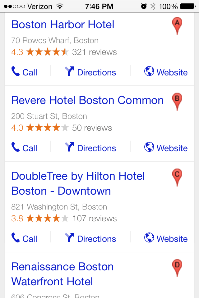 Google Local Listings Hotels- Smartphone