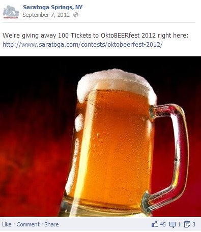 Saratoga Springs, NY Facebook post on Oktoberfest