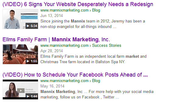 Mannix Marketing videos in Google search results