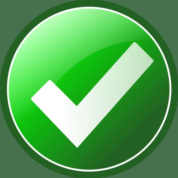 white check mark on green background