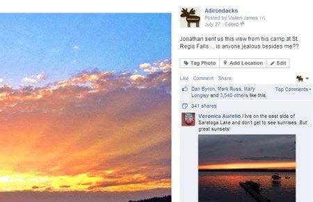Facebook likes Adirondacks