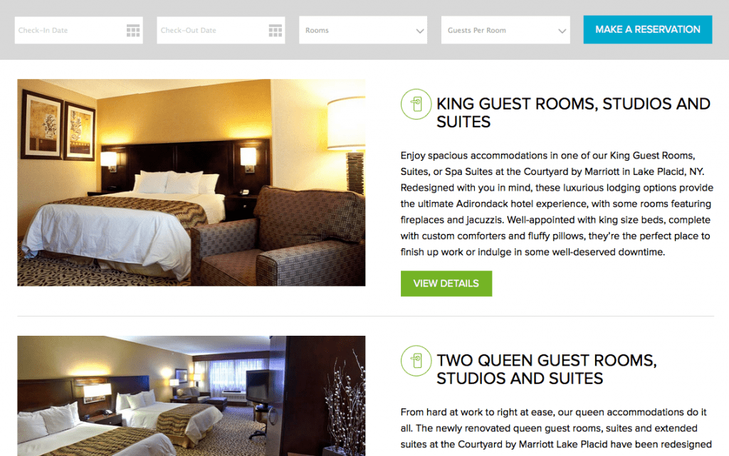courtyard hotel website layout