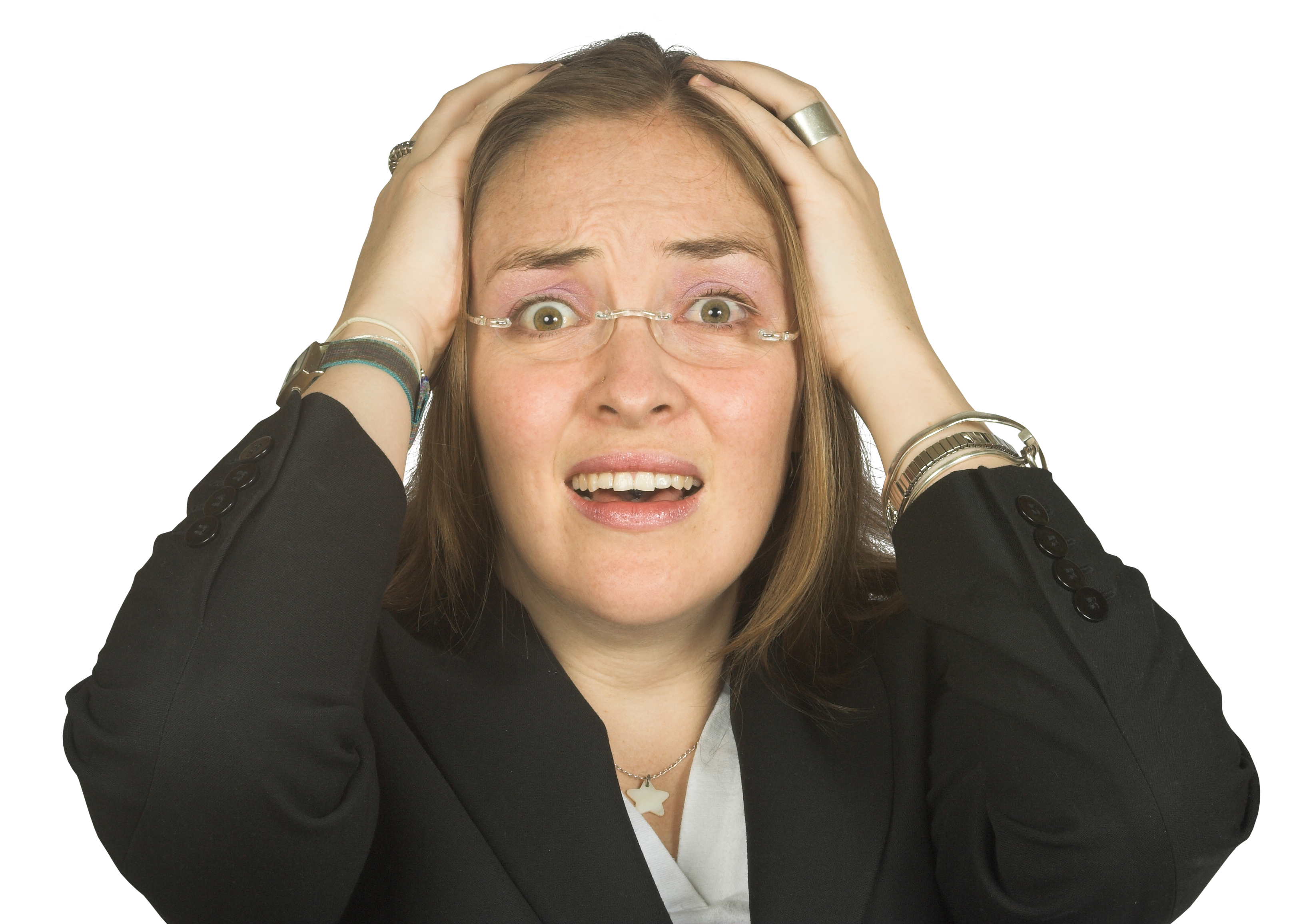 business woman making common adwords mistakes in shock