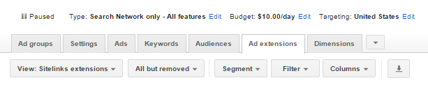 Ad Extensions tab in AdWords