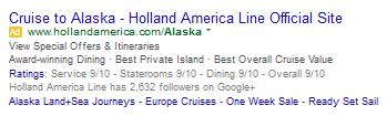 Alaska Cruise AdWords ad