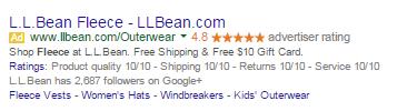 L.L. Bean AdWords ad