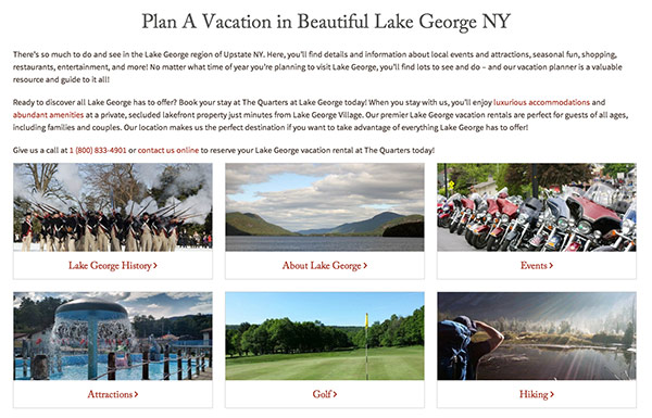 The Quarters at Lake George Website Vacation Planner