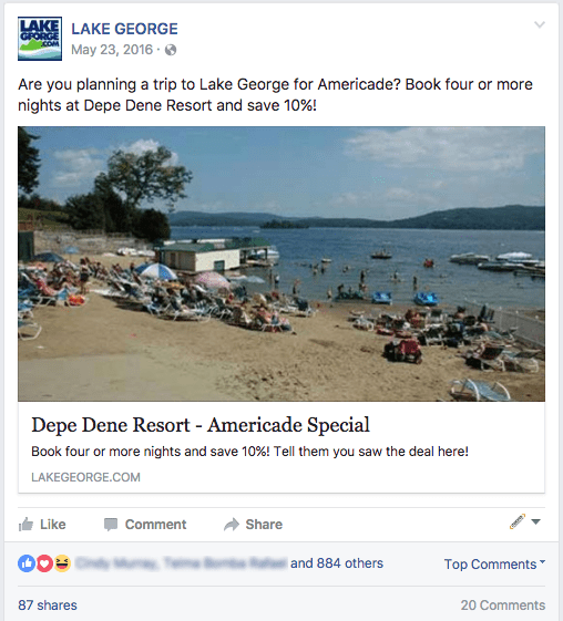 Lake George Facebook Promoted Post