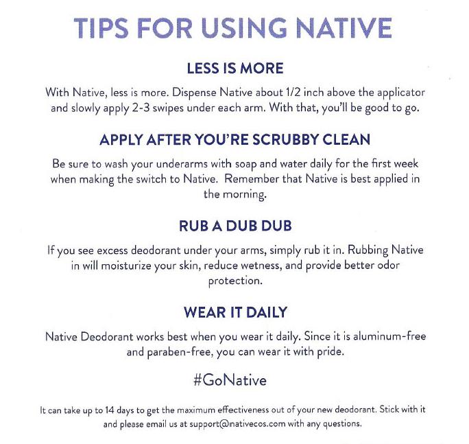 Native Deodorant- Tips
