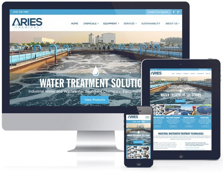 SEO friendly web design created by Mannix Marketing for Aries Chemical
