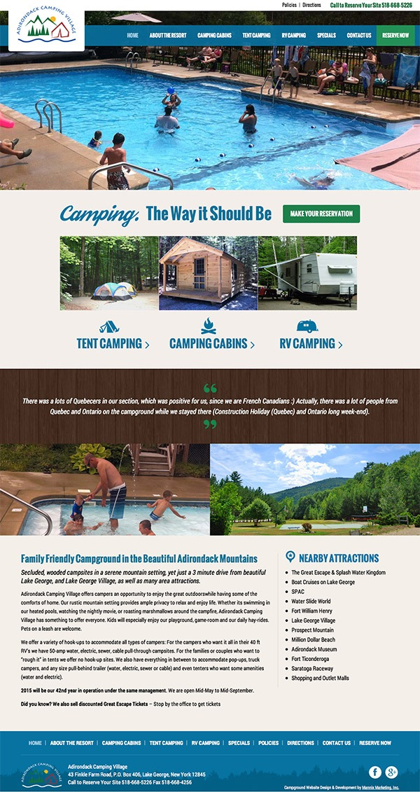 Adirondack Camping Village Website Design and Development