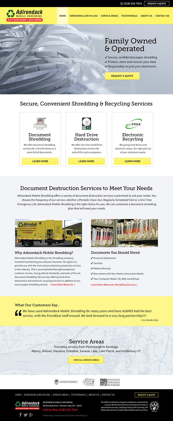 Adirondack Mobile Shredding Website Design and Development