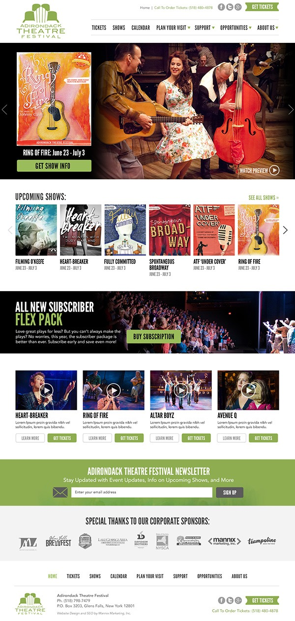Adirondack Theatre Festival Website Design and Development