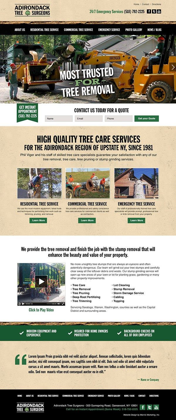 Adirondack Tree Surgeons Website Design and Development