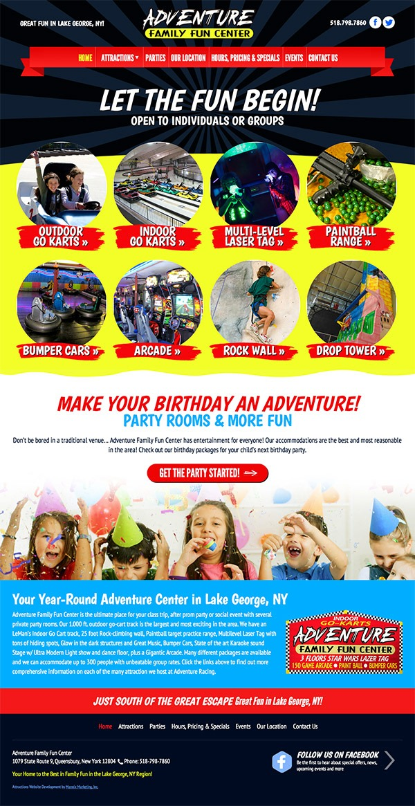 Adventure Family Fun Center Website Design and Development