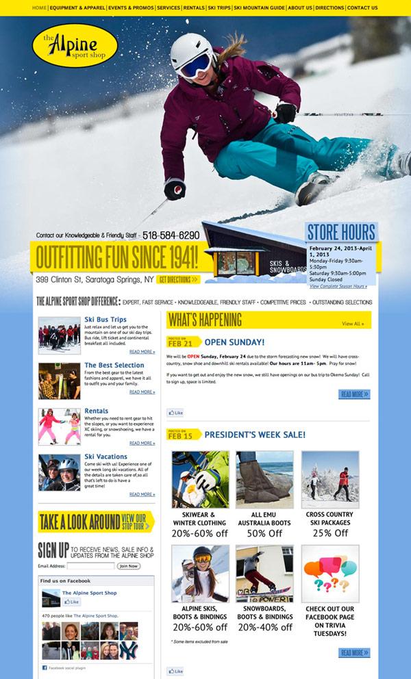 Alpine Sport Shop Website Design and Development